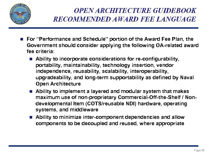 """OPEN ARCHITECTURE GUIDEBOOK RECOMMENDED AWARD FEE LANGUAGE n For """"Performance and Schedule"""" portion of"""