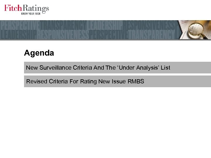 U S RMBS Rating Update Glenn Costello Managing