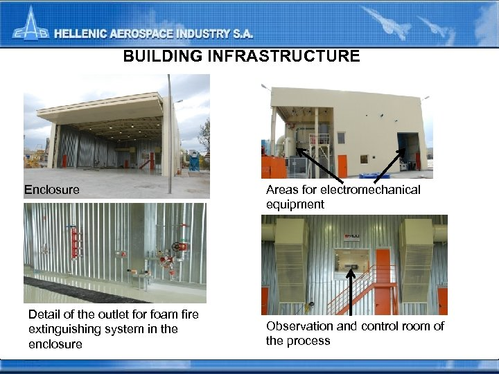BUILDING INFRASTRUCTURE Enclosure Detail of the outlet for foam fire extinguishing system in the