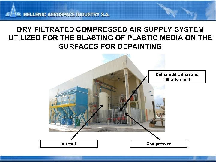DRY FILTRATED COMPRESSED AIR SUPPLY SYSTEM UTILIZED FOR THE BLASTING OF PLASTIC MEDIA ON