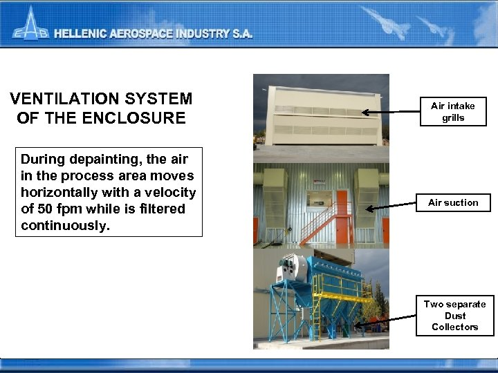 VENTILATION SYSTEM OF THE ENCLOSURE During depainting, the air in the process area moves