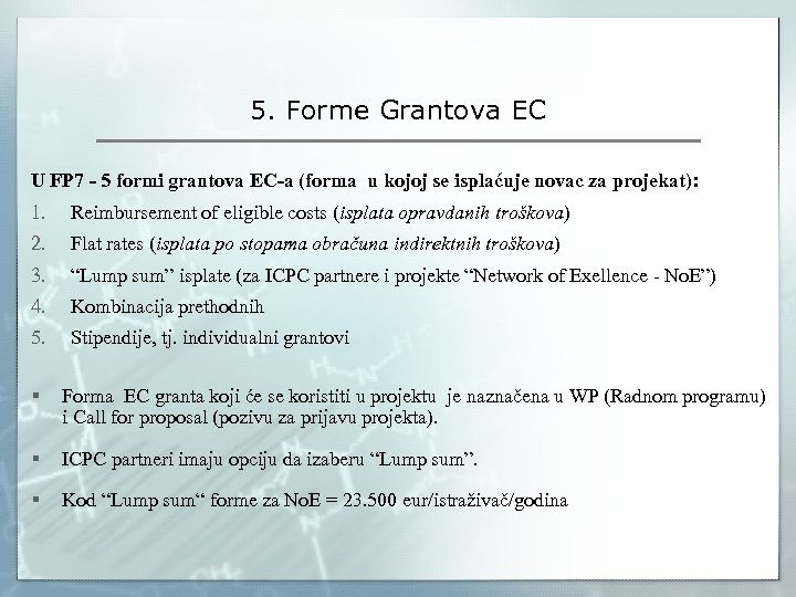 5. Forme Grantova EC U FP 7 - 5 formi grantova EC-a (forma u