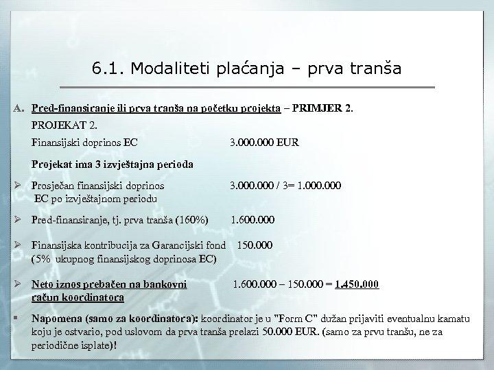 6. 1. Modaliteti plaćanja – prva tranša A. Pred-finansiranje ili prva tranša na početku