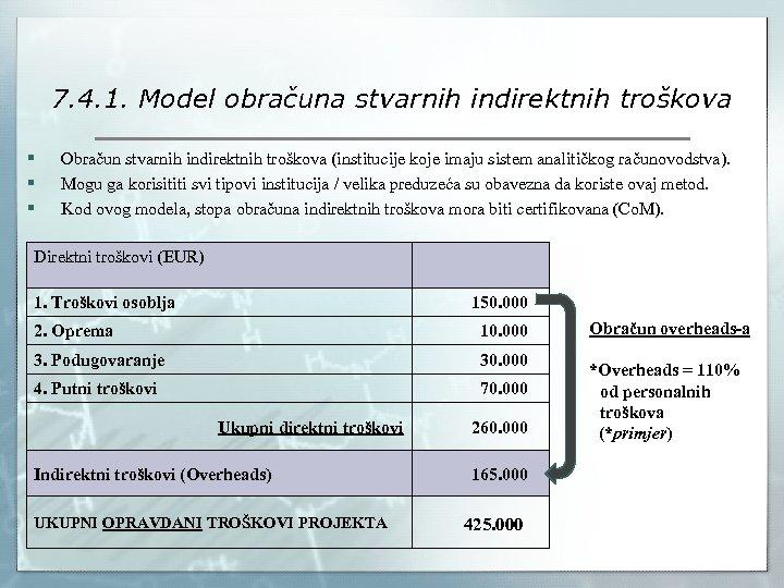 7. 4. 1. Model obračuna stvarnih indirektnih troškova § § § Obračun stvarnih indirektnih