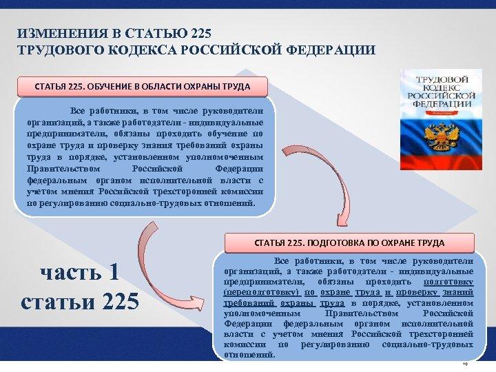 ИЗМЕНЕНИЯ В СТАТЬЮ 225 ТРУДОВОГО КОДЕКСА РОССИЙСКОЙ ФЕДЕРАЦИИ СТАТЬЯ 225. ОБУЧЕНИЕ В ОБЛАСТИ ОХРАНЫ