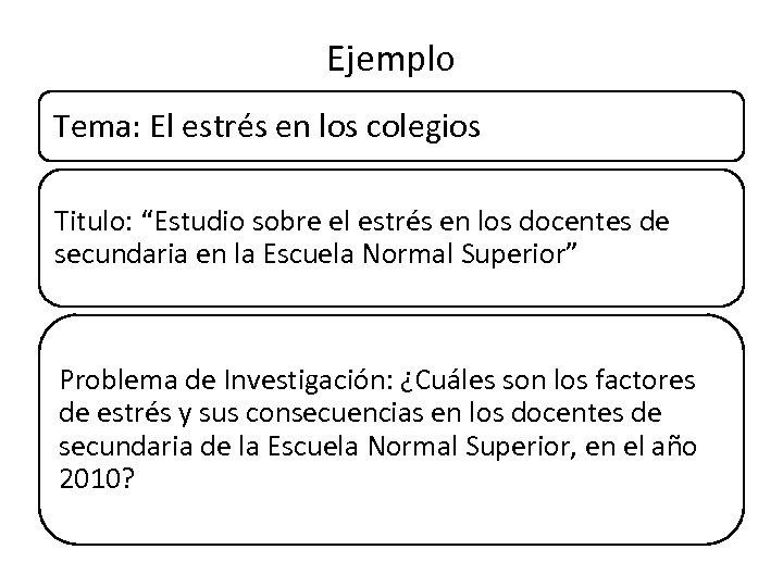 """Ejemplo Tema: El estrés en los colegios Titulo: """"Estudio sobre el estrés en los"""