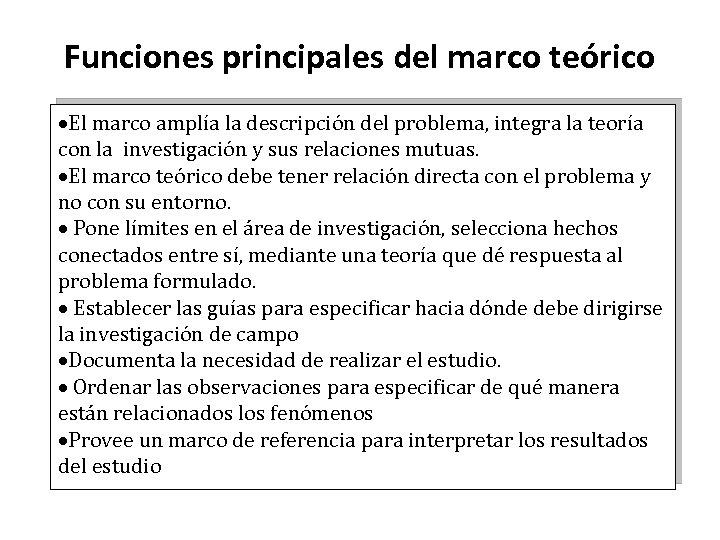 Funciones principales del marco teórico ·El marco amplía la descripción del problema, integra la