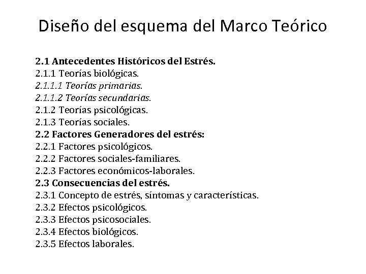 Diseño del esquema del Marco Teórico 2. 1 Antecedentes Históricos del Estrés. 2. 1.