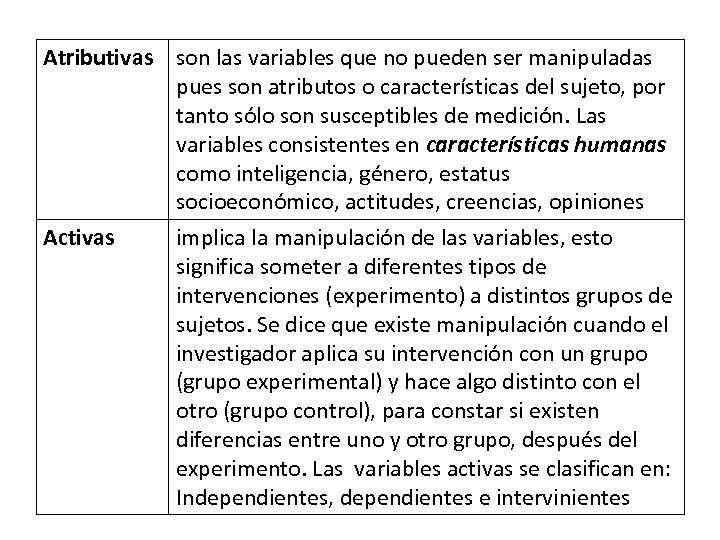 Atributivas son las variables que no pueden ser manipuladas pues son atributos o características