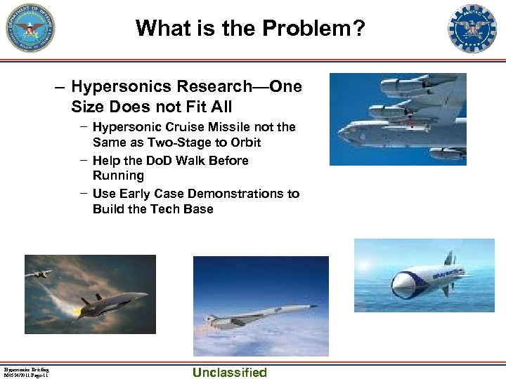 What is the Problem? – Hypersonics Research—One Size Does not Fit All − Hypersonic