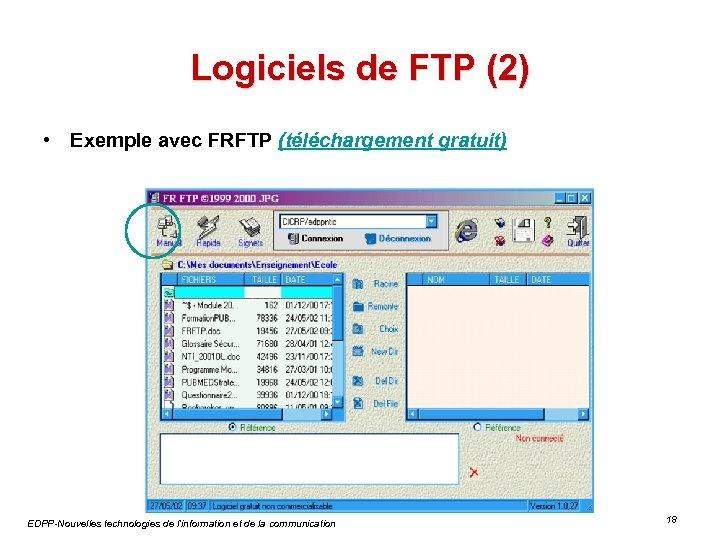 Logiciels de FTP (2) • Exemple avec FRFTP (téléchargement gratuit) EDPP-Nouvelles technologies de l'information