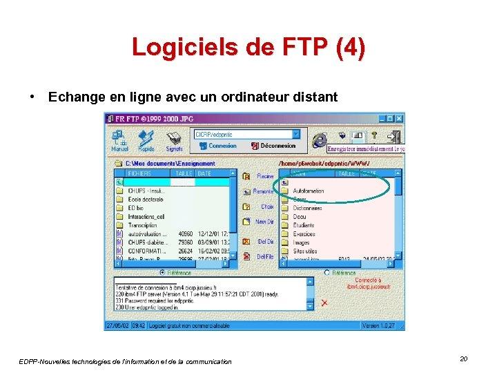 Logiciels de FTP (4) • Echange en ligne avec un ordinateur distant EDPP-Nouvelles technologies