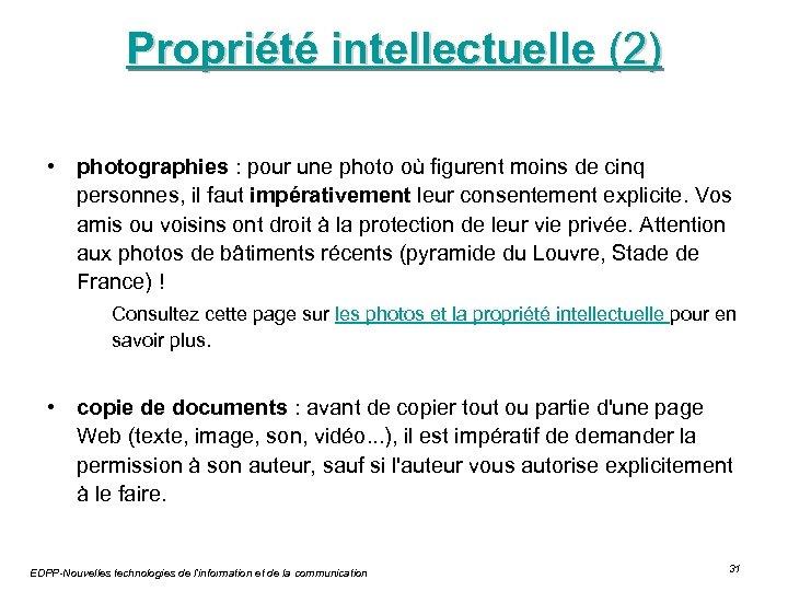 Propriété intellectuelle (2) • photographies : pour une photo où figurent moins de cinq