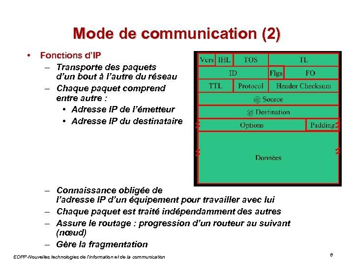 Mode de communication (2) • Fonctions d'IP – Transporte des paquets d'un bout à