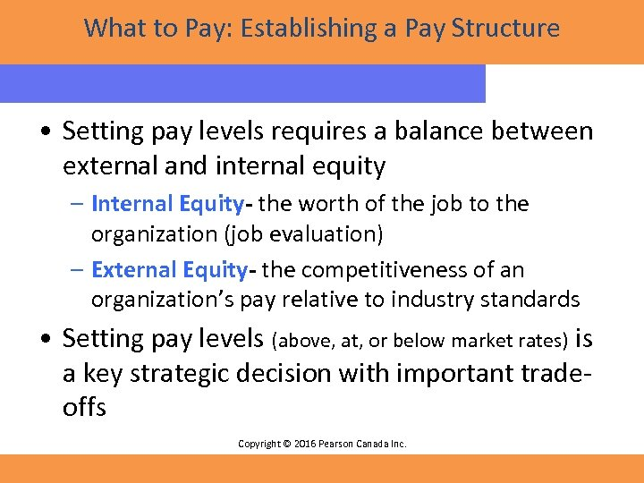 What to Pay: Establishing a Pay Structure • Setting pay levels requires a balance