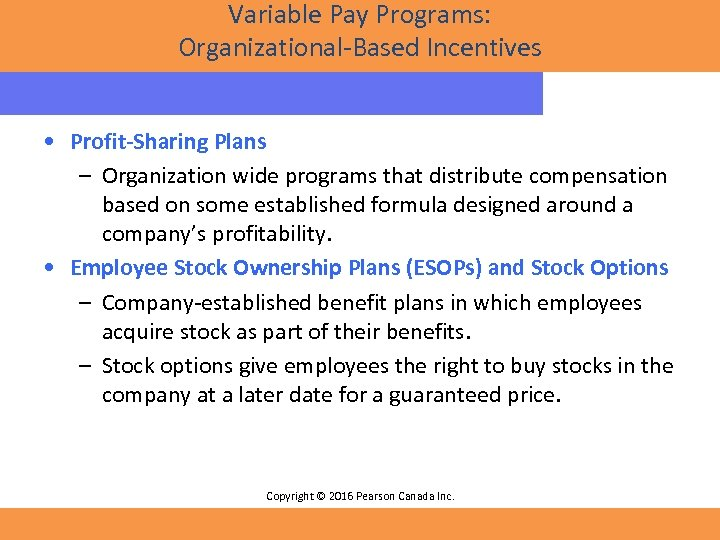 Variable Pay Programs: Organizational-Based Incentives • Profit-Sharing Plans – Organization wide programs that distribute