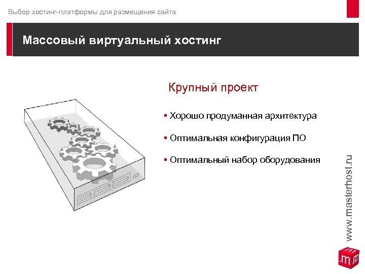 Выбор хостинг-платформы для размещения сайта Массовый виртуальный хостинг Крупный проект § Хорошо продуманная архитектура