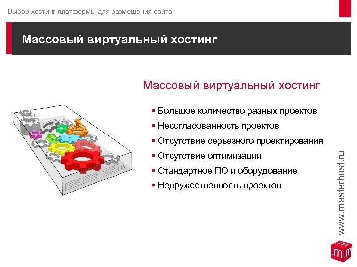Выбор хостинг-платформы для размещения сайта Массовый виртуальный хостинг § Большое количество разных проектов §