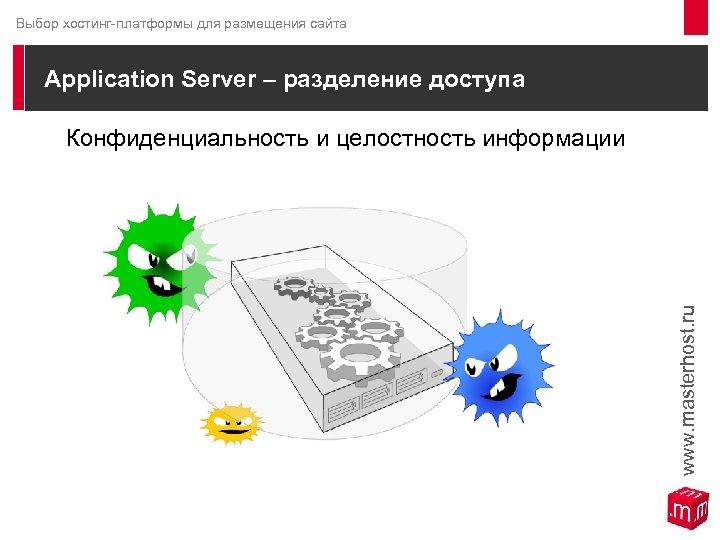 Выбор хостинг-платформы для размещения сайта Application Server – разделение доступа Конфиденциальность и целостность информации