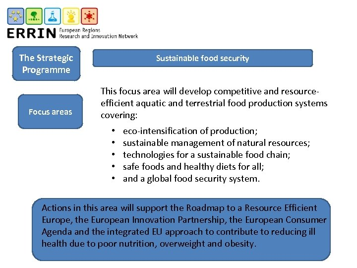 The Strategic Programme Focus areas Sustainable food security This focus area will develop competitive