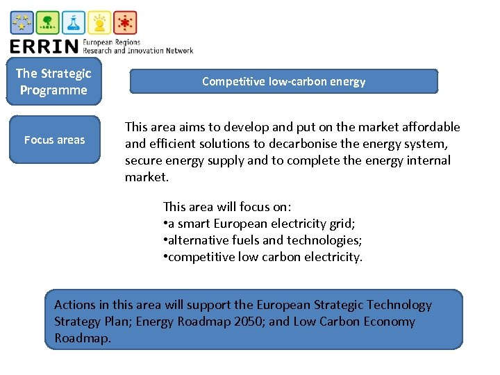 The Strategic Programme Focus areas Competitive low-carbon energy This area aims to develop and