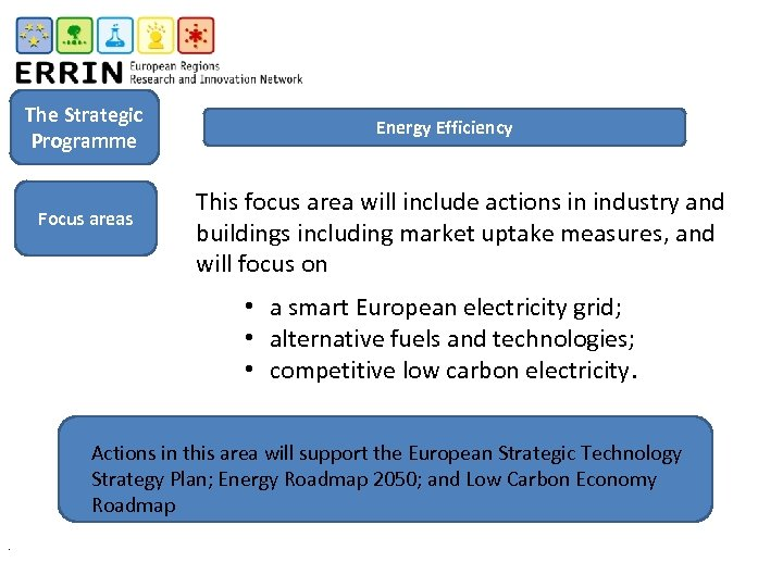 The Strategic Programme Focus areas Energy Efficiency This focus area will include actions in