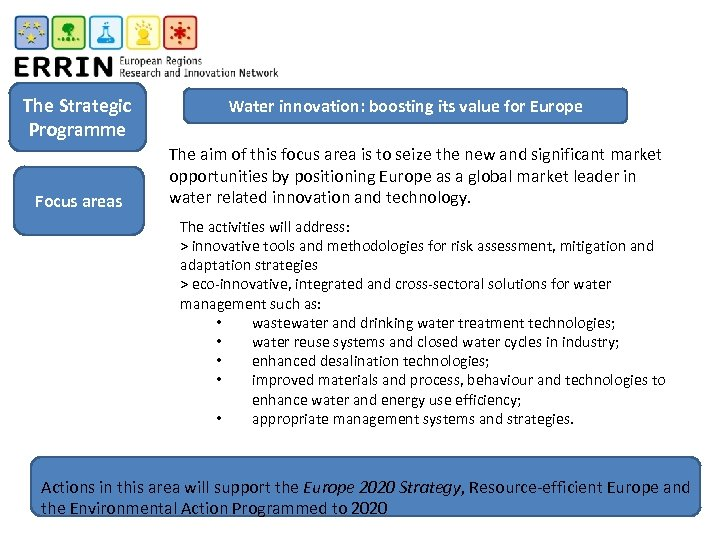 The Strategic Programme Focus areas Water innovation: boosting its value for Europe The aim