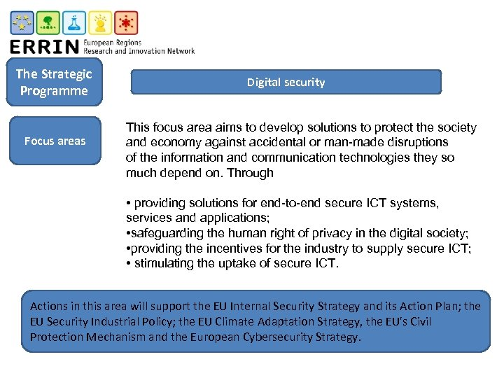 The Strategic Programme Focus areas Digital security This focus area aims to develop solutions