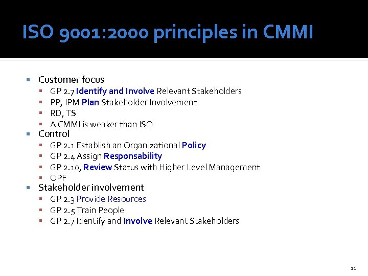 ISO 9001: 2000 principles in CMMI Customer focus GP 2. 7 Identify and Involve
