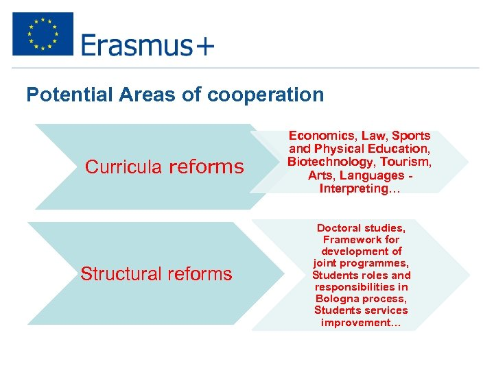 Potential Areas of cooperation Curricula reforms Structural reforms Economics, Law, Sports and Physical Education,