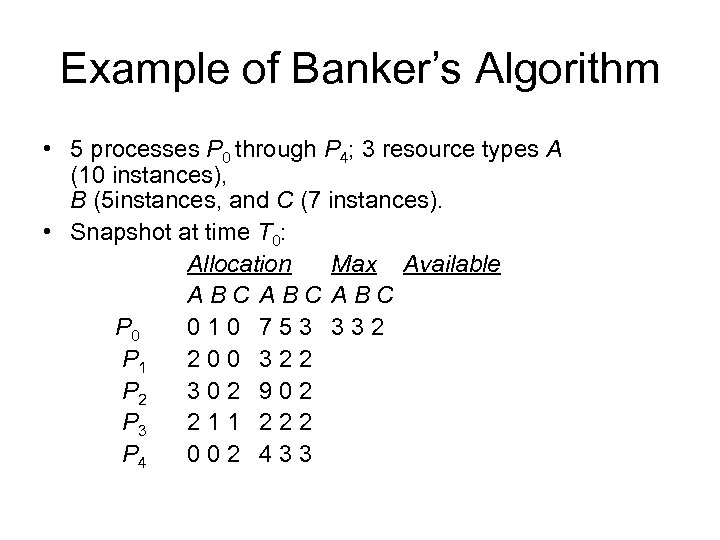 Example of Banker's Algorithm • 5 processes P 0 through P 4; 3 resource