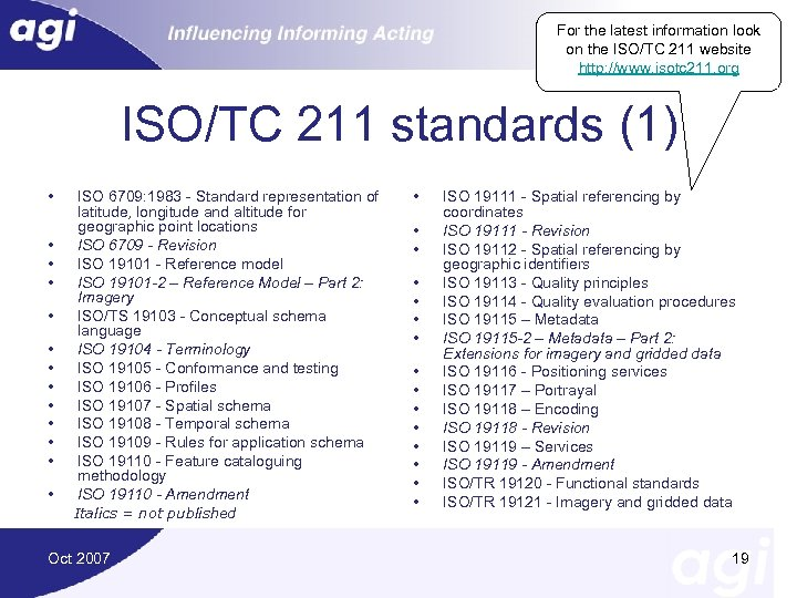 For the latest information look on the ISO/TC 211 website http: //www. isotc 211.