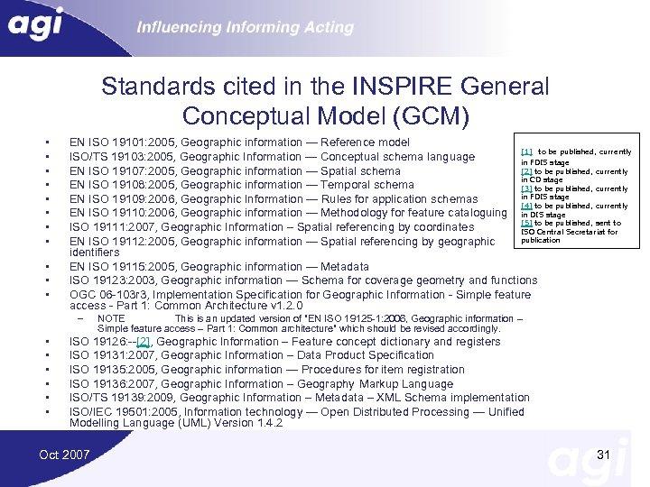 Standards cited in the INSPIRE General Conceptual Model (GCM) • • • EN ISO
