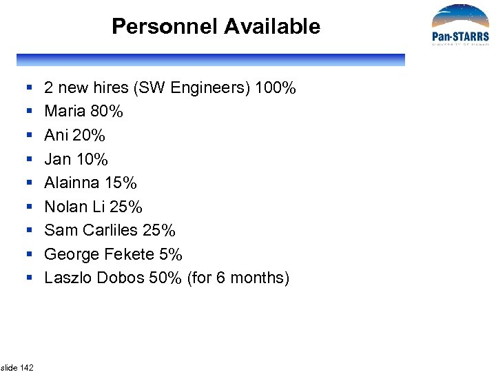 Personnel Available § § § § § slide 142 2 new hires (SW Engineers)