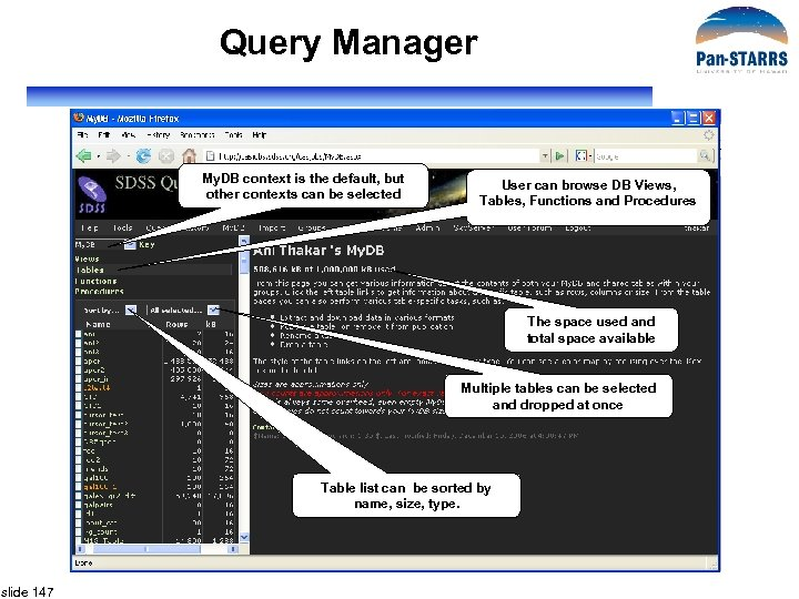 Query Manager My. DB context is the default, but other contexts can be selected