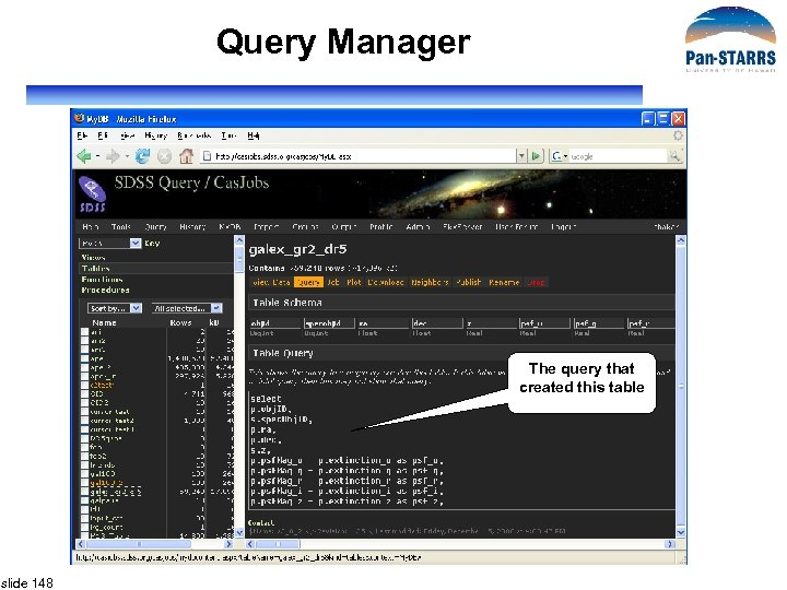 Query Manager The query that created this table slide 148
