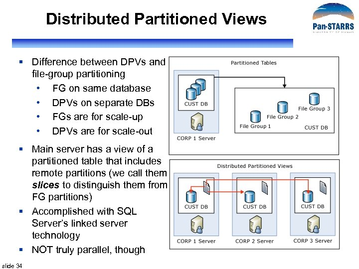 Distributed Partitioned Views § Difference between DPVs and file-group partitioning • FG on same