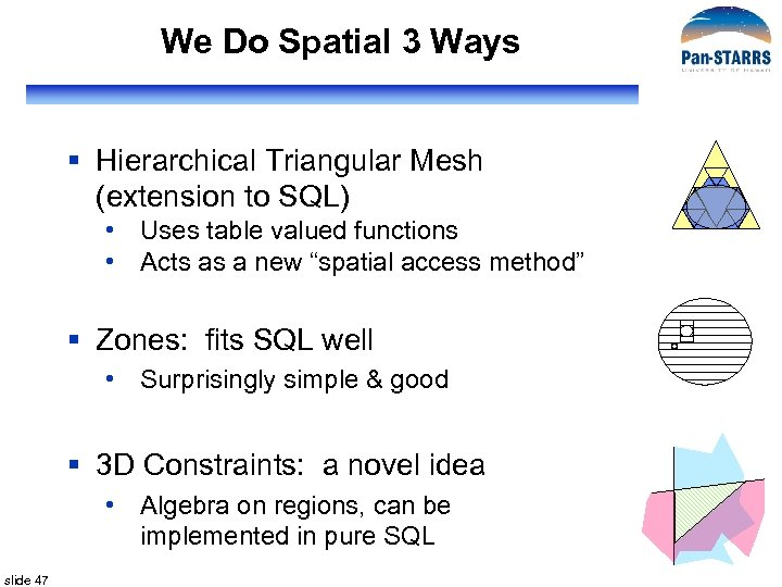 We Do Spatial 3 Ways § Hierarchical Triangular Mesh (extension to SQL) • Uses