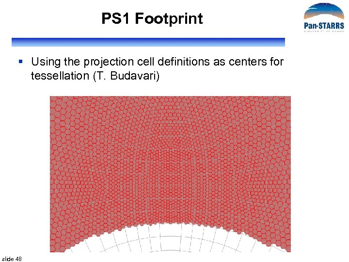 PS 1 Footprint § Using the projection cell definitions as centers for tessellation (T.