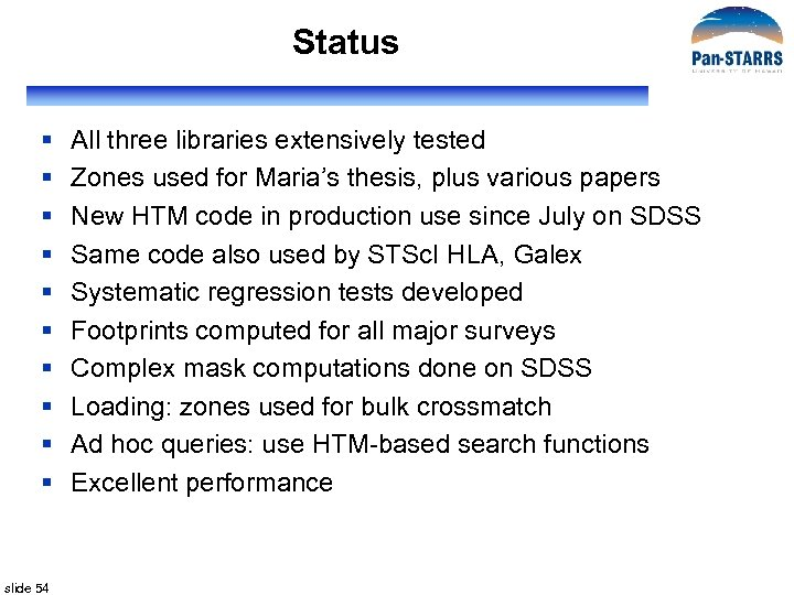 Status § § § § § slide 54 All three libraries extensively tested Zones