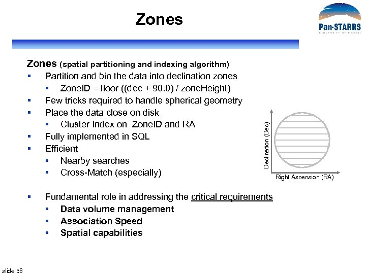 Zones § § § slide 58 Partition and bin the data into declination zones