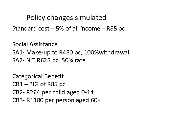 Policy changes simulated Standard cost – 5% of all income – R 85 pc