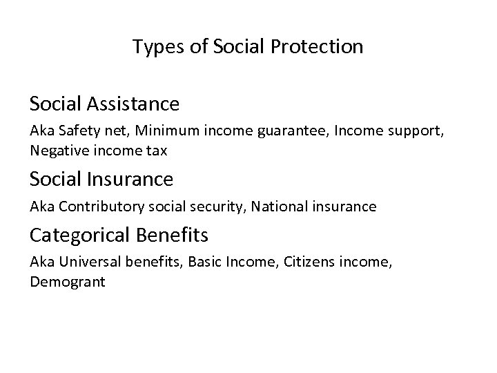 Types of Social Protection Social Assistance Aka Safety net, Minimum income guarantee, Income support,
