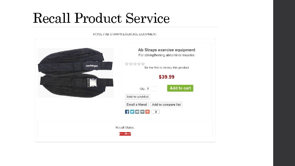 Recall Product Service