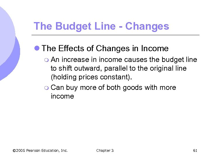 The Budget Line - Changes l The Effects of Changes in Income m An