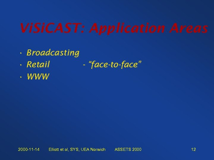 "Vi. Si. CAST: Application Areas • Broadcasting • Retail - ""face-to-face"" • WWW 2000"