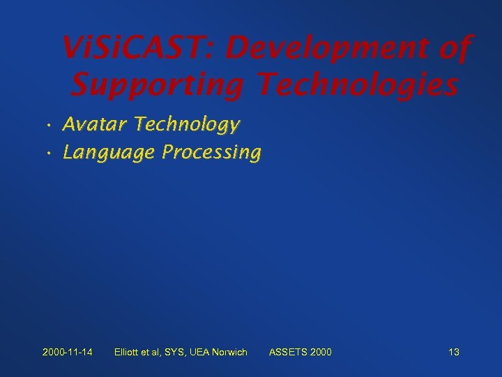 Vi. Si. CAST: Development of Supporting Technologies • Avatar Technology • Language Processing 2000
