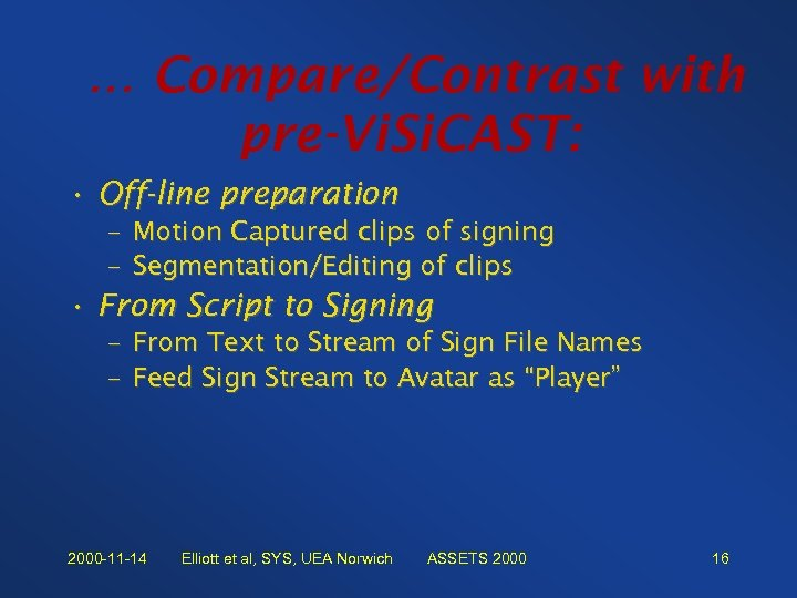 … Compare/Contrast with pre-Vi. Si. CAST: • Off-line preparation – Motion Captured clips of