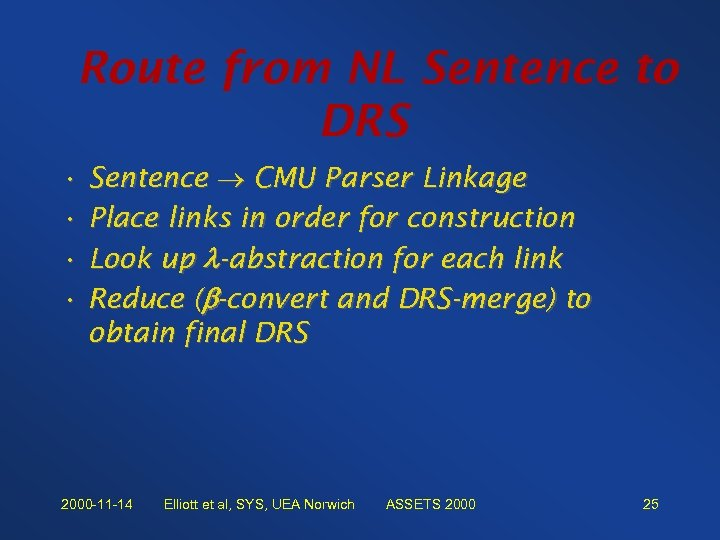 Route from NL Sentence to DRS • Sentence CMU Parser Linkage • Place links