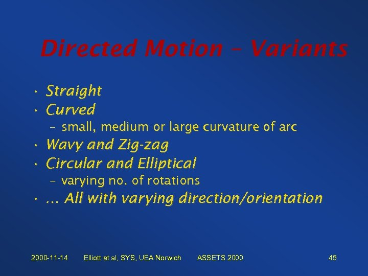 Directed Motion – Variants • Straight • Curved – small, medium or large curvature